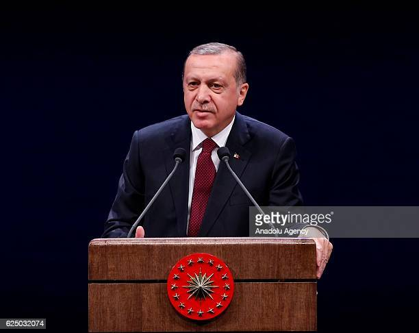 Turkish President Recep Tayyip Erdogan delivers a speech during 'Turkeys New Concept of Security' conference organized by Turkish Police Academy at...