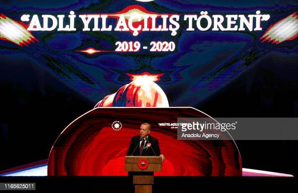 Turkish President Recep Tayyip Erdogan delivers a speech during the judicial year opening day ceremony at Bestepe National Congress and Culture...
