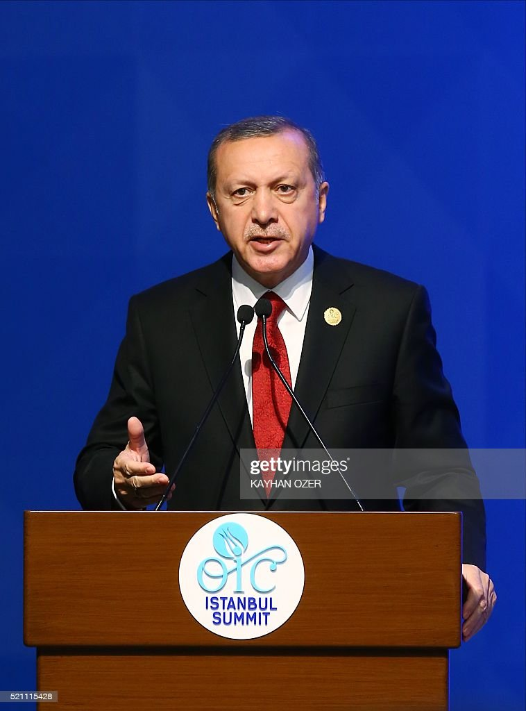 Turkish President Recep Tayyip Erdogan delivers a speech during the 13th Organization of Islamic Cooperation (OIC) Summit at Istanbul Congress Center (ICC) on April 14,2016 in Istanbul. N OZER Turkish President Recep Tayyip Erdogan on April 14 hosts over 30 heads of state and government from Islamic countries in Istanbul for a major summit aimed at overcoming differences in the Muslim world. / AFP / POOL / KAYHAN