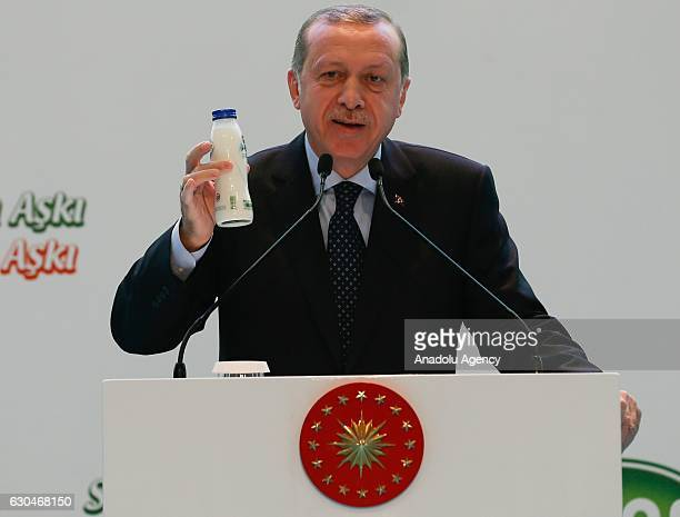 Turkish President Recep Tayyip Erdogan delivers a speech during the opening ceremony of SUTAS Ege dairying project in Tire district of Izmir Turkey...