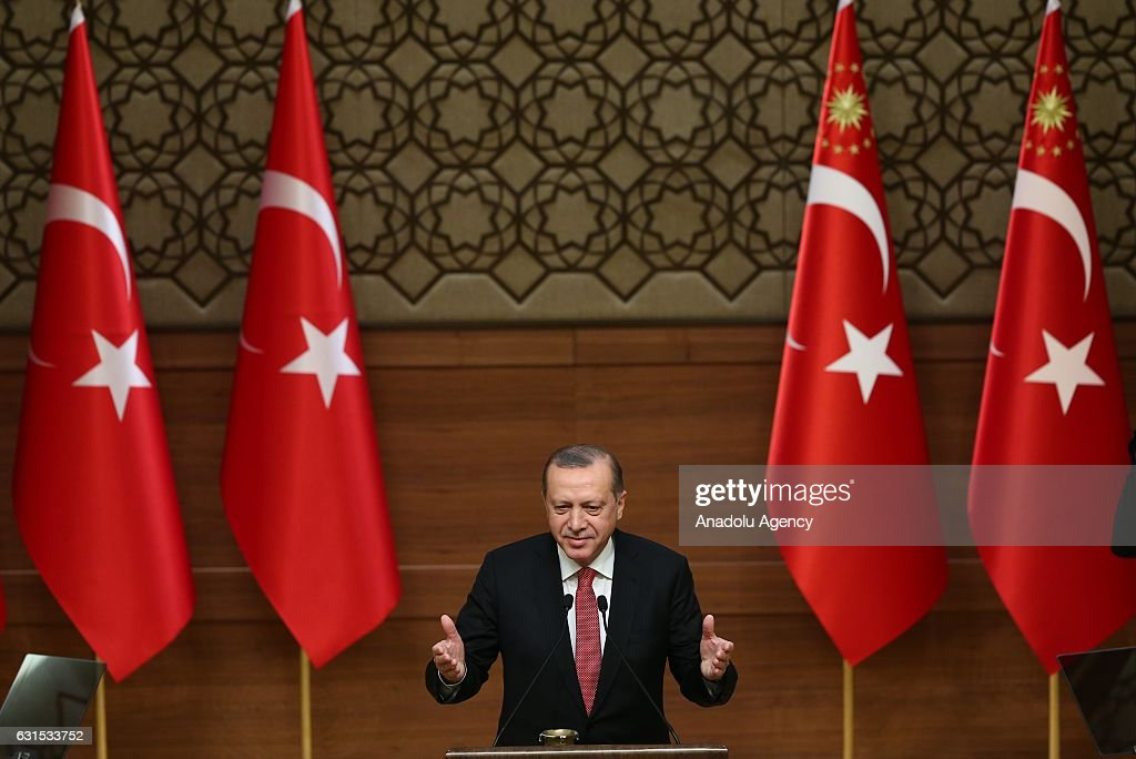 Turkish President Erdogan adresses mukhtars in Ankara : News Photo