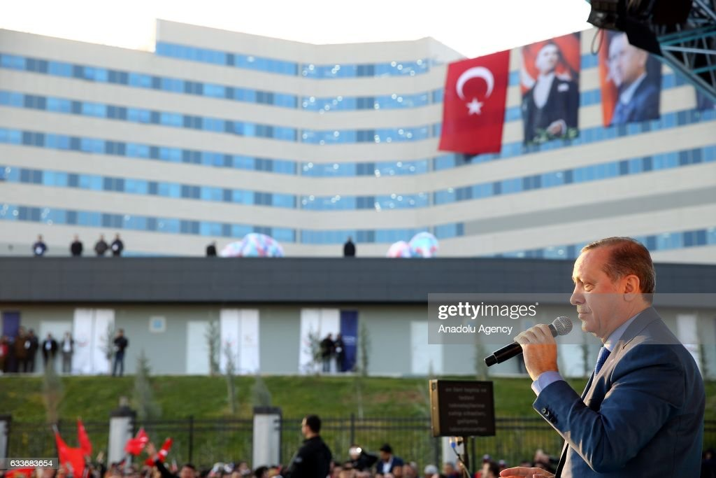 Turkish President Recep Tayyip Erdogan delivers a speech during the inauguration ceremony of hospital complex in Mersin, Turkey on February 03, 2017.