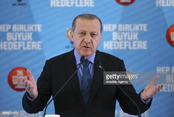 Turkish President Recep Tayyip Erdogan delivers a speech during the ruling Justice and Development Party's 26th consultation meeting's closing...