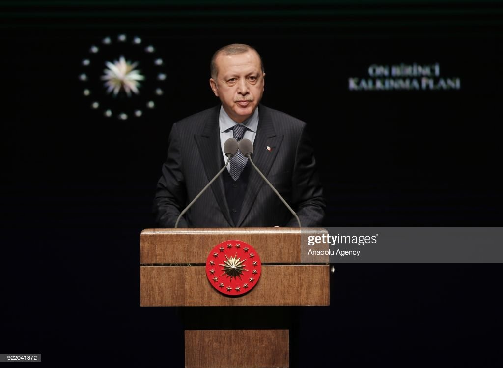 Turkish President Recep Tayyip Erdogan delivers a speech during the 11th Development Plan Publicity Meeting at the Bestepe National Congress and Culture Center in Ankara, Turkey on February 21, 2018.