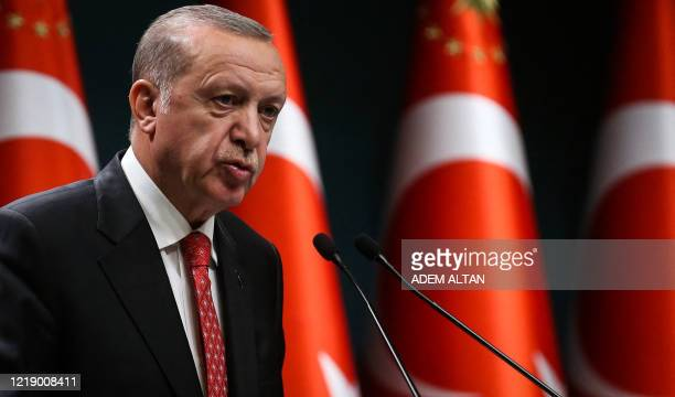 Turkish President Recep Tayyip Erdogan delivers a speech following a cabinet meeting in Ankara on June 9 2020