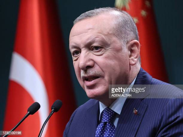 Turkish President Recep Tayyip Erdogan delivers a speech following an evaluation meeting at the Presidential Complex in Ankara on April 5, 2021. -...