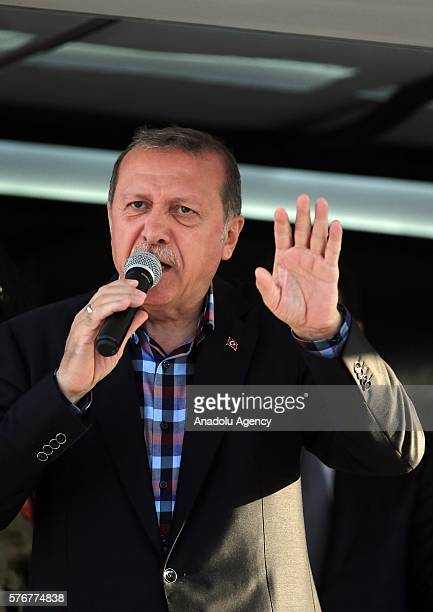 Turkish President Recep Tayyip Erdogan delivers a speech following 'Parallel State/Gulenist Terrorist Organization's failed coup attempt at his...