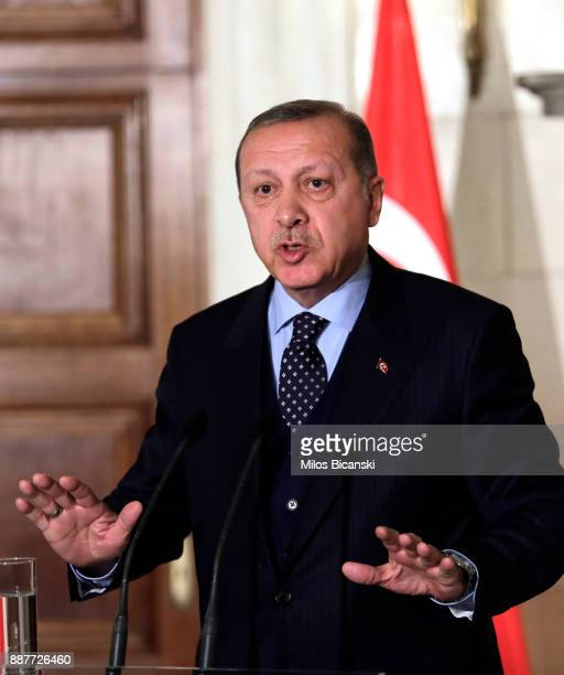 Turkish President Recep Tayyip Erdogan during a joint press conference with the Greek prime minister in Athens on December 7 2017 President Recep...