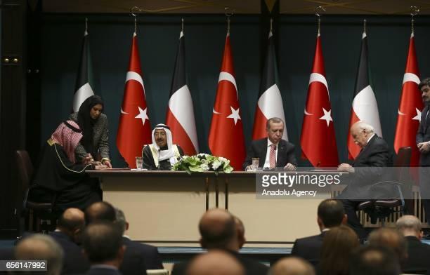 Turkish President Recep Tayyip Erdogan Emir of Kuwait Sheikh Sabah IV Ahmad AlJaber AlSabah Turkish Culture and Tourism Minister Nabi Avci and...