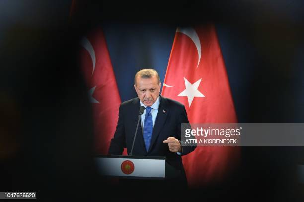 Turkish President Recep Tayyip Erdogan gives a joint press conference with the Hungarian Prime Minister following official talks in the parliament...
