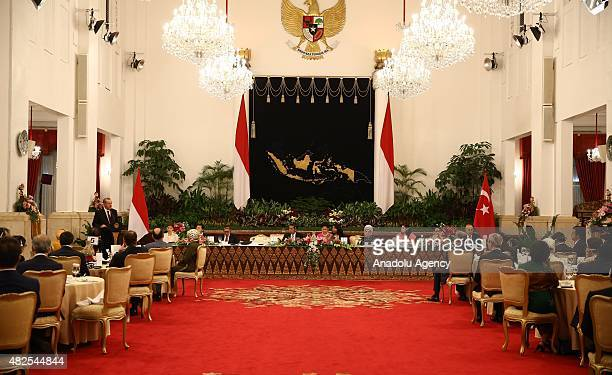Turkish President Recep Tayyip Erdogan gives a speech during a dinner hosted by Indonesian President Joko Widodo in Jakarta Indonesia on July 31 2015