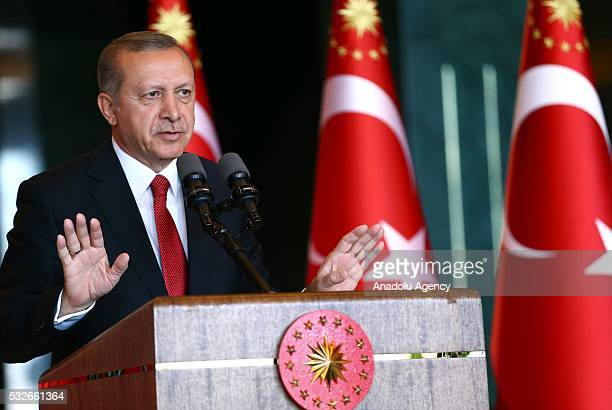 Turkish President Recep Tayyip Erdogan gives a speech to the guests as he receives young people and athletes came from varied Turkish Provinces,...
