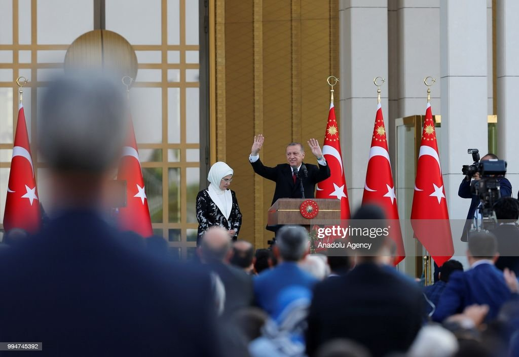 Turkish President Recep Tayyip Erdogan greet the participants during his inauguration ceremony at Presidential Complex in Ankara, Turkey on July 9, 2018.
