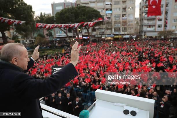 Turkish President Recep Tayyip Erdogan greets citizens at Bergama district of Izmir in Turkey on February 22, 2020.