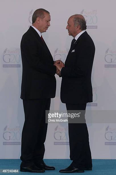 Turkish President Recep Tayyip Erdogan greets French Minister of Foreign Affairs and International Development, Laurent Fabius during the official...