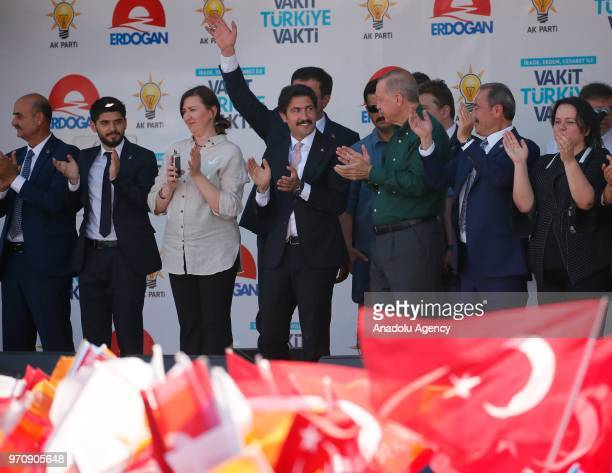 Turkish President Recep Tayyip Erdogan greets the crowd during an election rally of ruling Justice and Development Party in Denizli Turkey on June 10...
