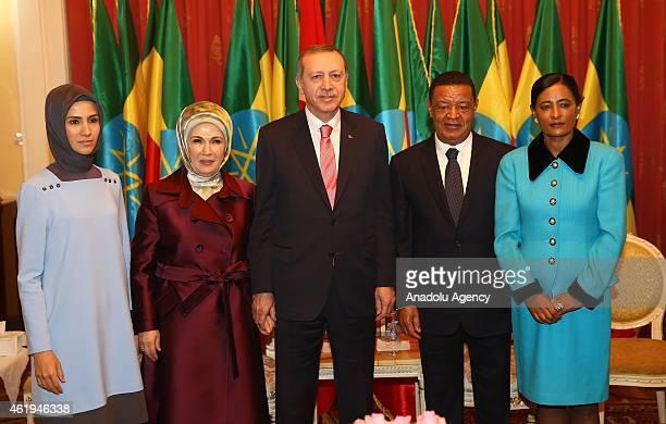 Turkish President Recep Tayyip Erdogan his wife Emine Erdogan and their daugter Sumeyye Erdogan meet with President of Ethiopia Mulatu Teshome and...