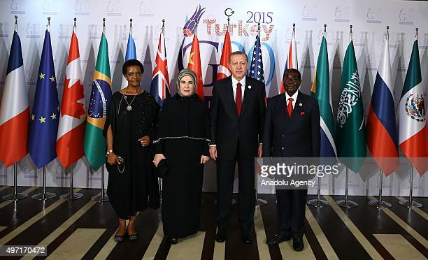 Turkish President Recep Tayyip Erdogan his wife Emine Erdogan Zimbabwe's President Robert Mugabe and his wife Grace Mugabe pose for photographers...
