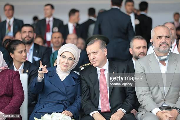 Turkish President Recep Tayyip Erdogan his wife Emine Erdogan and Albanian Prime Minister Edi Rama attend the opening ceremony of Osmangazi Bridge in...