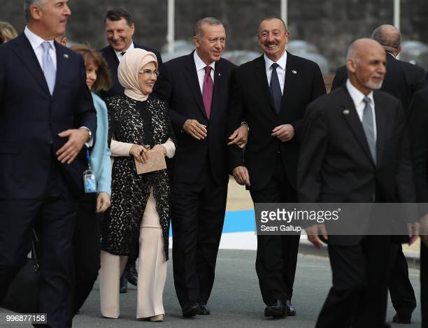 Turkish President Recep Tayyip Erdogan his wife Emine Erdogan and Azerbaijani President Ilham Aliyev attend the evening reception and dinner at the...