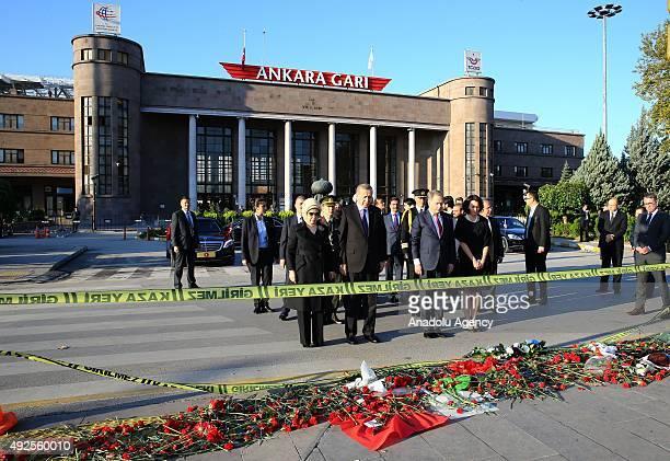 Turkish President Recep Tayyip Erdogan his wife Emine Erdogan Finnish President Sauli Niinisto and and his wife Jenni Haukio visit the site of twin...