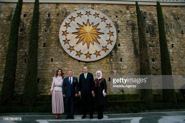 Turkish President Recep Tayyip Erdogan , his wife Emine Erdogan , Jordanian King Abdullah II and Queen Rania Al Abdullah of Jordan pose for a...
