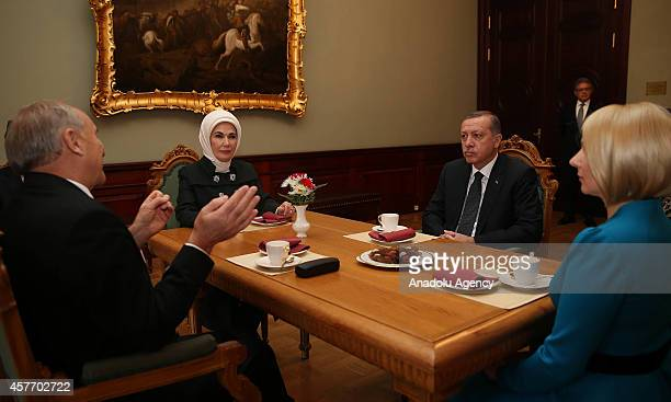 Turkish President Recep Tayyip Erdogan his wife Emine Erdogan Latvian President Andris Berzins and his wife Dace Seisuma meet at House of the...