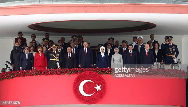 Turkish President Recep Tayyip Erdogan his wife Emine Erdogan Speaker of the Parliament of Turkey Cemil Cicek Turkish Prime Minister Ahmet Davutoglu...