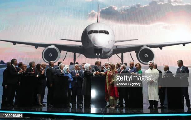 Turkish President Recep Tayyip Erdogan his wife Emine Erdogan Turkish Grand National Assembly Speaker Binali Yildirim President of Kosovo Hashim...