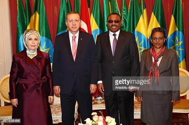 Turkish President Recep Tayyip Erdogan , his wife Emine Erodgan , Ethiopian Prime Minister Hailemariam Desalegn and his wife Roman Tesfaye pose for a...