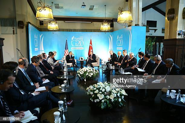 Turkish President Recep Tayyip Erdogan holds a bilateral meeting with US President Barack Obama as a part of G20 Turkey Summit on November 15 2015 in...