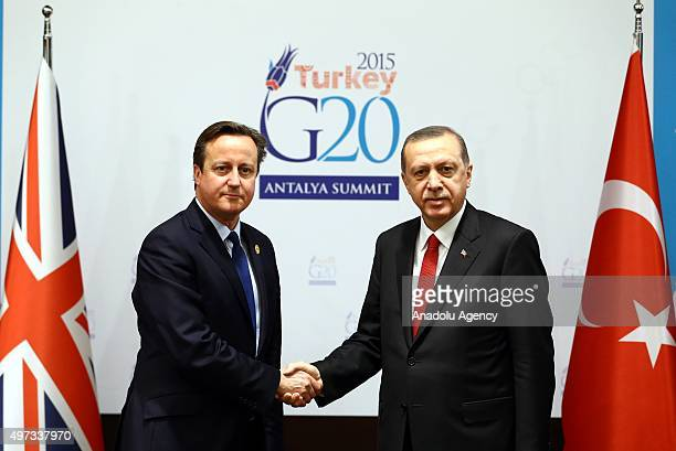Turkish President Recep Tayyip Erdogan holds a bilateral meeting with British Prime Minister David Cameron on the sidelines of the G20 Turkey Leaders...