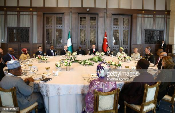Turkish President Recep Tayyip Erdogan holds a luncheon for Nigerian President Muhammadu Buhari with the attendance of Erdogan's spouse Emine Erdogan...