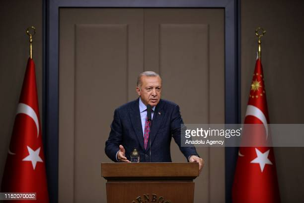 Turkish President Recep Tayyip Erdogan holds a press conference before his departure from the Esenboga Airport to G20 Leaders Summit in Osaka Japan...
