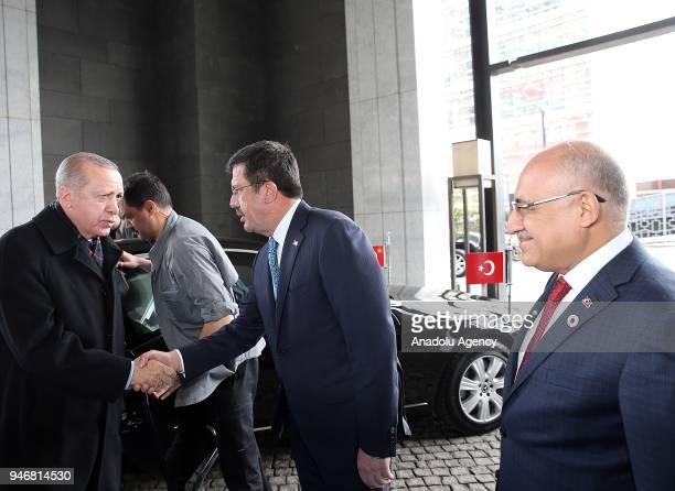 Turkish President Recep Tayyip Erdogan is being welcomed by Turkish Economy Minister Nihat Zeybekci ahead of the Global Entrepreneurship Congress in...