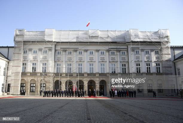 Turkish President Recep Tayyip Erdogan is welcomed by President of Poland Andrzej Duda with an official welcoming ceremony at Presidential Palace in...