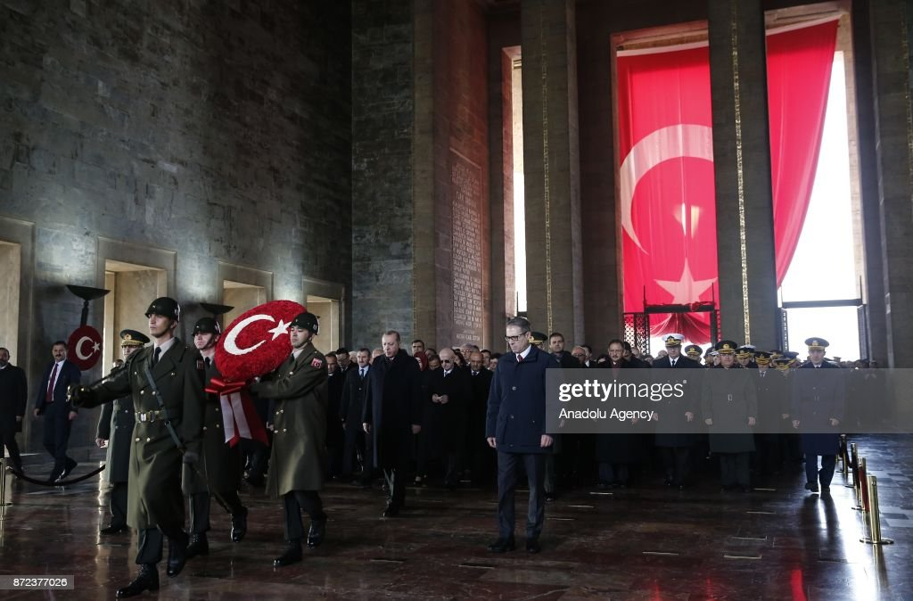 Turkish President Recep Tayyip Erdogan, Kemal Kilicdaroglu head of the Republican People's Party (CHP), Turkey's Nationalist Movement Party's leader (MHP) Devlet Bahceli, cabinet members and other officials visit Anitkabir, mausoleum of Mustafa Kemal Ataturk who is founder of the Republic of Turkey, during the 79th anniversary of his death in Ankara, Turkey on November 10, 2017.