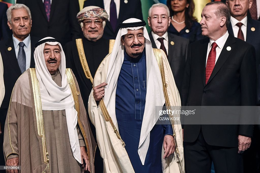 Turkish President Recep Tayyip Erdogan (R), King Salman bin Abdulaziz Al Saud of Saudi Arabia (C) and Emir of Kuwait Sheikh Sabah Al-Ahmad Al-Jaber Al-Sabah (L) pose during a family photo of 13th Organization of Islamic Cooperation (OIC) Summit at Istanbul Congress Center (ICC). Turkish President Recep Tayyip Erdogan on Thursday hosts over 30 heads of state and government from Islamic countries in Istanbul for a major summit aimed at overcoming differences in the Muslim world. Turkey seeks to showcase its influence in the Muslim world, particularly in lands once controlled by the Ottoman Empire, at the two-day summit of the Organisation of Islamic Cooperation (OIC). KOSE