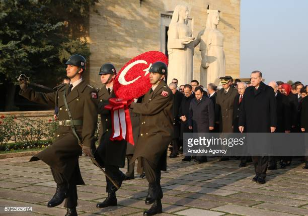 Turkish President Recep Tayyip Erdogan lays a wreath at Anitkabir mausoleum of Mustafa Kemal Ataturk who is founder of the Republic of Turkey during...