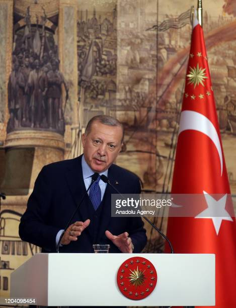 Turkish President Recep Tayyip Erdogan makes a speech as he holds a meeting with his ruling Justice and Development Party's Istanbul deputies at the...