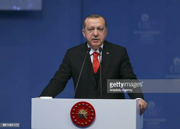 Turkish President Recep Tayyip Erdogan makes a speech during the opening session of the Organization of the Islamic Cooperation extraordinary summit...