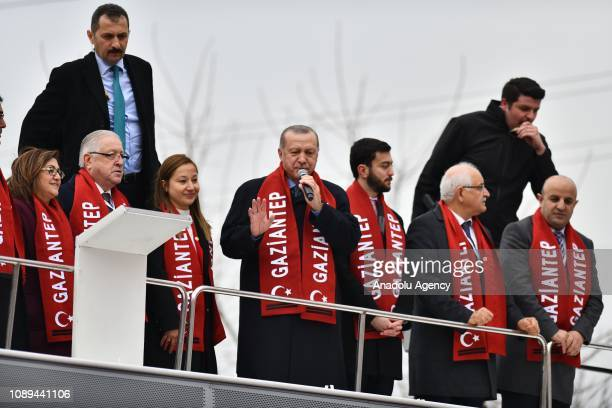 Turkish President Recep Tayyip Erdogan makes a statement as he attends ruling Justice and Development Partys presentation of mayoral candidates for...