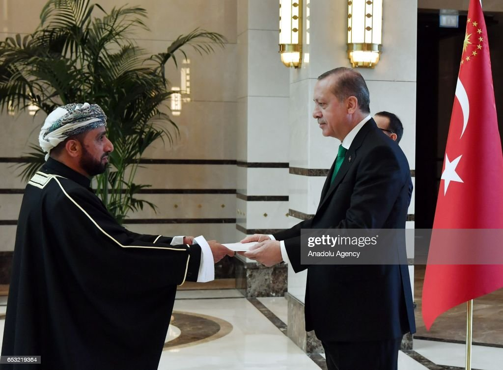 Turkish President Recep Tayyip Erdogan (R) meets Ambassador Designate of the Sultanate of Oman, Qasim Mohammed Salim Al Salhi at the Presidential Complex in Ankara, Turkey on March 14, 2017.