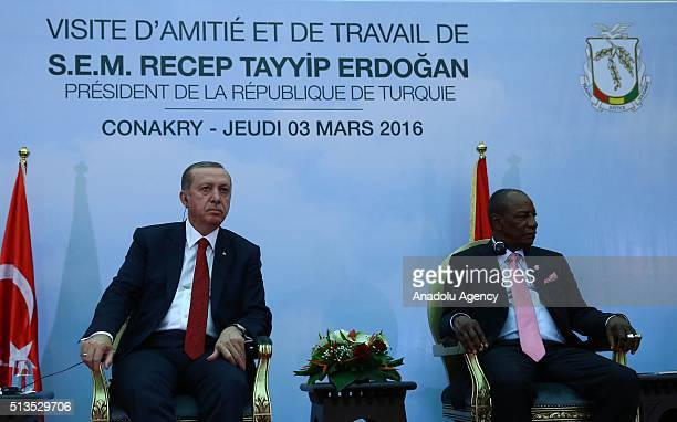 Turkish President Recep Tayyip Erdogan meets Guinean President Alpha Conde in Conakry Guinea on March 3 2016