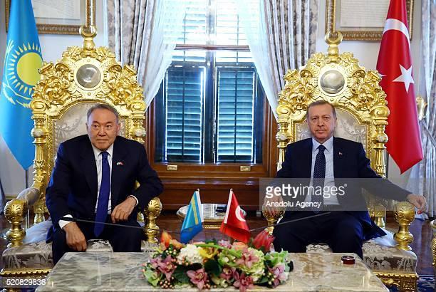 Turkish President Recep Tayyip Erdogan meets Kazakhstan's President Nursultan Nazarbayev at Mabeyn Palace in Istanbul Turkey on April 13 2016