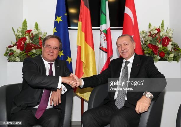 Turkish President Recep Tayyip Erdogan meets Minister of North Rhine-Westphalia Armin Laschet in Cologne, Germany on September 29, 2018.