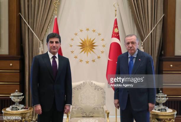 Turkish President Recep Tayyip Erdogan meets Nechirvan Barzani , leader of Iraq's Kurdish Regional Government at Presidential Complex in Ankara,...