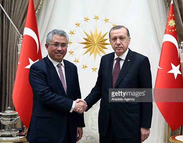 Turkish President Recep Tayyip Erdogan meets the Chief Executive Officer and Director of Khazanah Nasional Berhad Tan Sri Dato Azman HJ Mokhtar at...