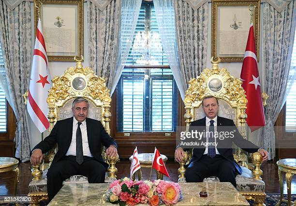Turkish President Recep Tayyip Erdogan meets Turkish Cypriot President Mustafa Akinci at Mabeyn Palace in Istanbul, Turkey on April 15, 2016.