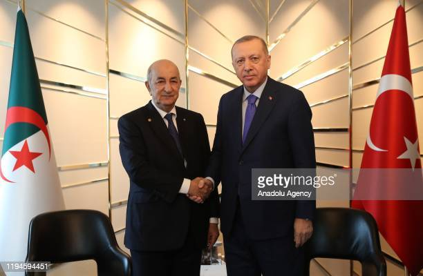 Turkish President Recep Tayyip Erdogan meets with Algerian President Abdelmadjid Tebboune within the Berlin Conference on Libyan peace in Berlin...